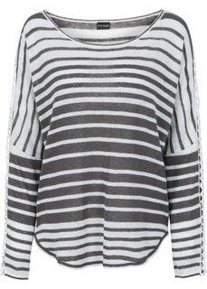 Пуловер (серо-коричневый/белый в полоску) Bonprix
