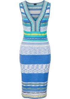 Вязаное платье (синий/белый/желтый/бирюзовый с узором) Bonprix