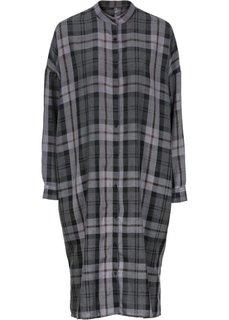 Платье-макси рубашечного покроя (темно-серый/цвет белой шерсти в клетку) Bonprix