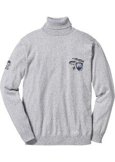 Пуловер Regular Fit с высоким воротом (светло-серый меланж) Bonprix
