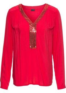 Блузка с пайетками (красный) Bonprix