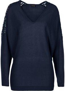 Пуловер с кружевной отделкой (темно-синий) Bonprix