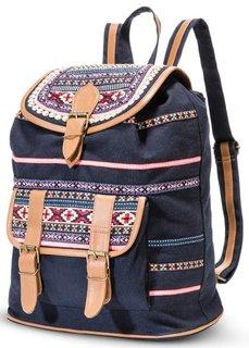Рюкзак Этно (черный с рисунком) Bonprix