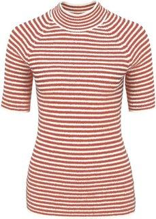 Пуловер с воротником-стойкой (ржаво-красный/цвет белой шерсти в полоску) Bonprix