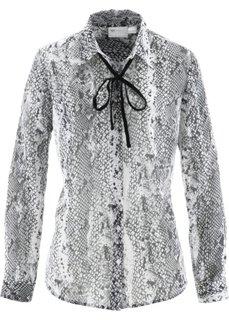 Блуза с лентой (змеиный узор/серый) Bonprix