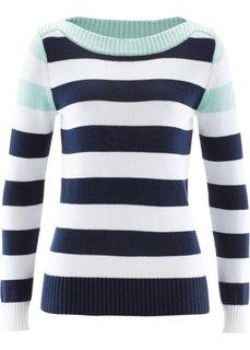 Пуловер с вырезом-лодочкой (нежно-мятный/темно-синий/белый в полоску) Bonprix