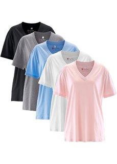 Удлиненная футболка с коротким рукавом (5 шт.) (жемчужно-розовый + жемчужно-голубой + антрацитовый меланж + белый + черный) Bonprix