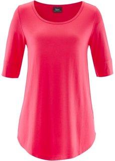 Удлиненная вискозная футболка (ярко-розовый гибскус) Bonprix