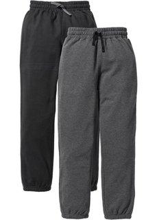 Спортивные брюки с лампасами (2 пары) (черный/антрацитовый меланж) Bonprix