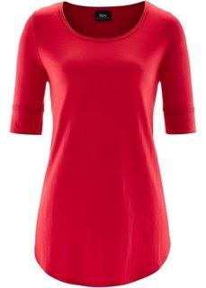 Удлиненная вискозная футболка (красный) Bonprix
