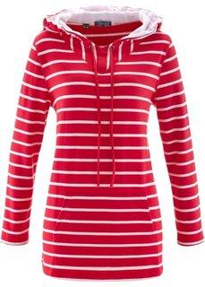 Удлиненный свитшот с длинным рукавом (красный в полоску) Bonprix