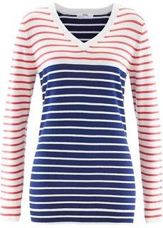 Удлиненный пуловер с длинным рукавом (цвет белой шерсти/темно-синий в полоску) Bonprix
