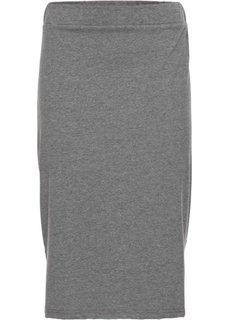 Трикотажная юбка с боковыми разрезами (серый меланж) Bonprix