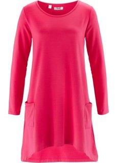 Трикотажное платье с длинным рукавом (ярко-розовый меланж) Bonprix