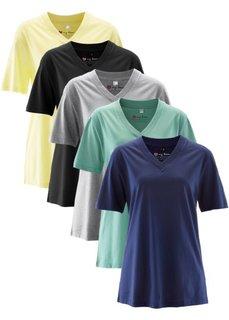 Удлиненная футболка с коротким рукавом (5 шт.) (нежно-лимонный + зеленый шалфей + ночная синь + светло-серый меланж + черный) Bonprix