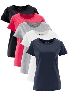Футболка с короткими рукавами (5 шт.) (ярко-розовый + светло-серый меланж + белый + черный + темно-синий) Bonprix