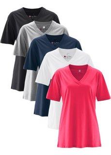 Удлиненная футболка с коротким рукавом (5 шт.) (ярко-розовый + светло-серый меланж + белый + черный + темно-синий) Bonprix