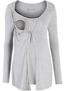 Мода для беременных: футболка с функцией кормления (светло-серый меланж/черный в полоску) Bonprix