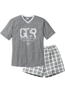 Пижама с  шортами (серый меланж/белый) Bonprix
