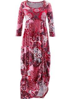Трикотажное платье макси (кленово-красный с узором) Bonprix