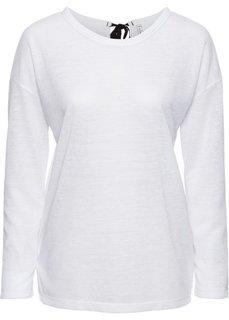 Вязаная футболка с лентами для завязывания (белый) Bonprix