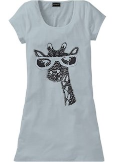 Ночная рубашка в стиле футболки (серый с рисунком жирафа) Bonprix