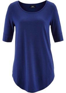 Удлиненная вискозная футболка (ночная синь) Bonprix