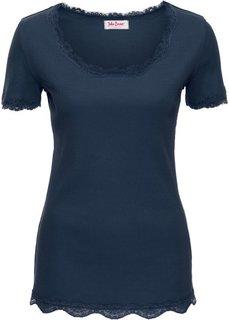 Эластичная футболка с коротким рукавом и кружевной отделкой (темно-синий) Bonprix
