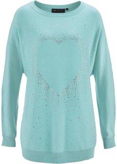 Удлиненный пуловер с сердцем из стразов (пастельная аква) Bonprix
