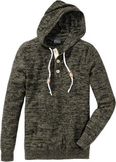 Пуловер Slim Fit (темно-оливковый меланж) Bonprix