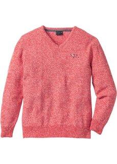Пуловер с V-образным вырезом Regular Fit (омаровый) Bonprix