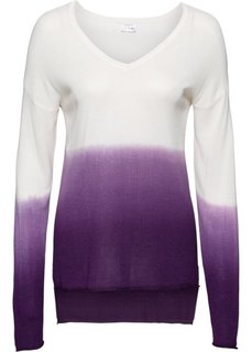 Пуловер с V-образным вырезом (белый/лиловый) Bonprix