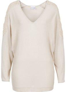 Пуловер с кружевной отделкой (бежевый) Bonprix