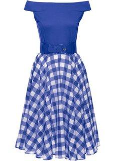 Платье с открытыми плечами (синий/белый) Bonprix