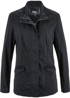 Легкая куртка-парка с кружевной отделкой (черный) Bonprix