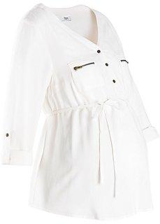 Мода для беременных: блузка с поясом (цвет белой шерсти) Bonprix