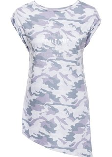 Футболка камуфляжной расцветки с блестящим принтом (камуфляжный лиловый/серебристый) Bonprix