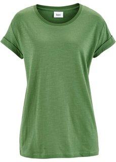 Широкая футболка с коротким рукавом (зеленый) Bonprix