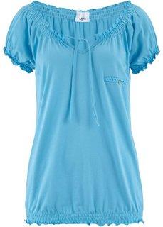 Блузон из хлопового трикотажа с карманом (светло-голубой) Bonprix