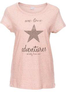Футболка со звездой из блесток (винтажно-розовый меланж) Bonprix