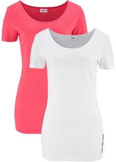 Футболка (2 штуки в упаковке) (нежный ярко-розовый/белый) Bonprix