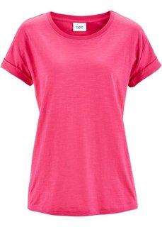 Широкая футболка с коротким рукавом (ярко-розовый) Bonprix