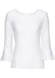 Кружевная футболка (белый) Bonprix