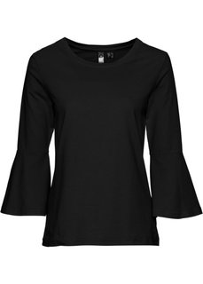 Классика гардероба: футболка с воланами (черный) Bonprix