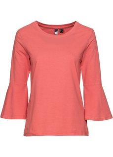 Классика гардероба: футболка с воланами (коралловый) Bonprix