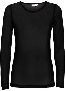 Прозрачная футболка (черный) Bonprix