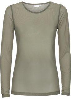 Прозрачная футболка (оливковый) Bonprix