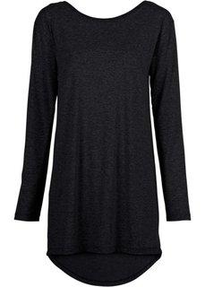 Удлиненная футболка с длинными рукавами (черный) Bonprix