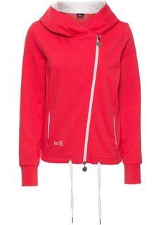 Трикотажная куртка с асимметричной застежкой-молнией (красный) Bonprix