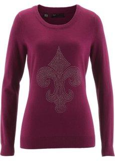 Пуловер с лилией из стразов (красная ягода) Bonprix